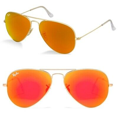 Ray-Ban RB SONNENBRILLE GOLD ORANGE VERSPIEGELT 3026 112/69 AVIATOR II 2 62 3025