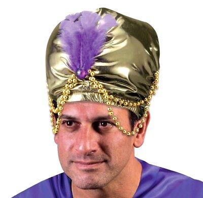 GOLD TURBAN ARABIAN SHEIK HAT Beads Mind Reader Adult Genie Swami Karnak Cap Big