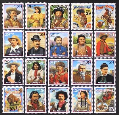 Legends Single - US Year 1994 #2869a-t Legends Of The West Cpl set of 20 single stamps Mint NH
