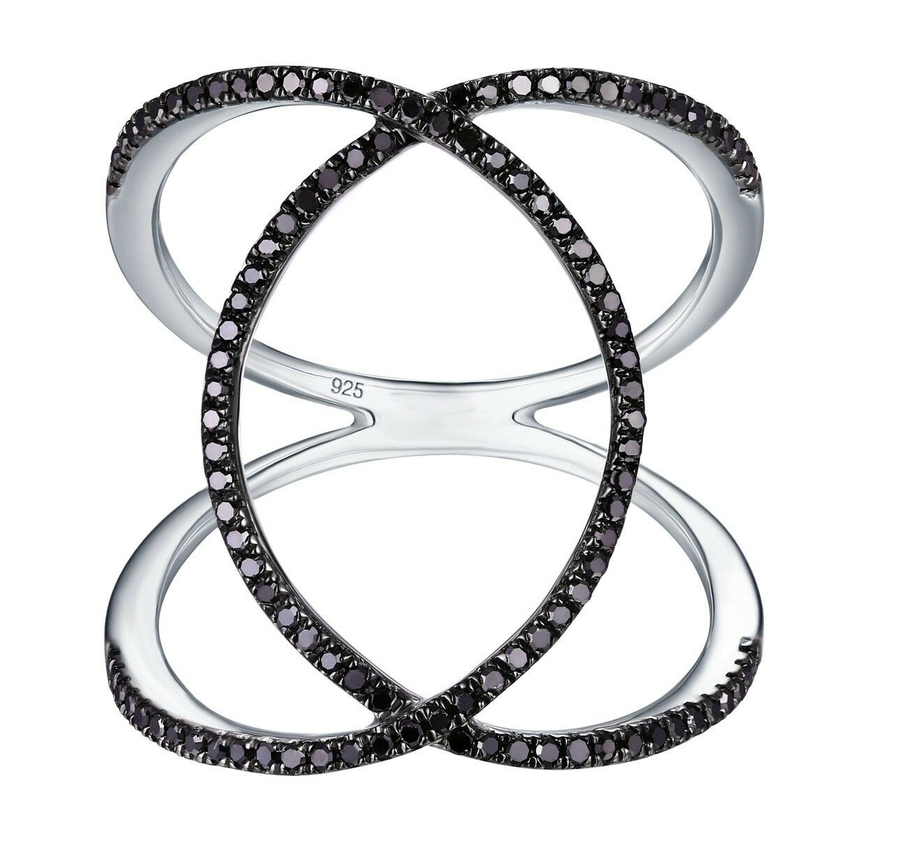 Prism Jewel 0.31Ct Round Black Diamond Criss Cross Wrap Ring