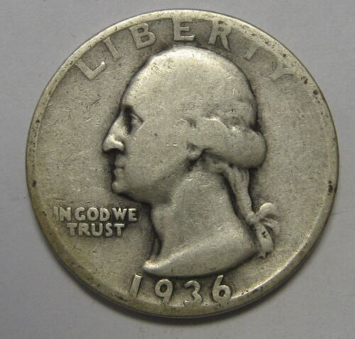 1936 Washington Silver Quarter in Lower Grade Condition Priced Right FREE S&H