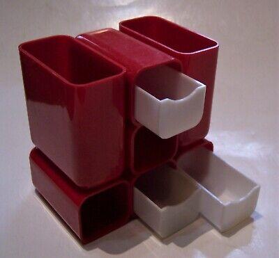 Hof Vintage Mcm Plastic Compartment Drawer Desk Office Organizer Red White 7412
