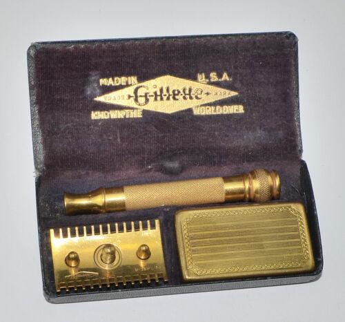 1920s Era Gold Plated Gillette Old Type DE Razor Complete Set, NICE SHAPE