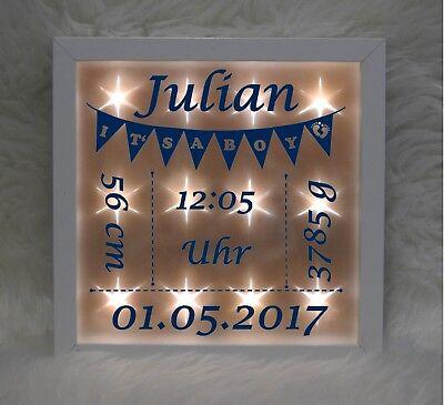 Beleuchteter Bilderrahmen - Wimpelkette - blau - Geburt - Baby
