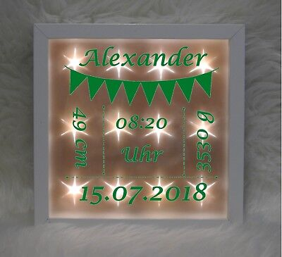 Beleuchteter Bilderrahmen - Wimpelkette - grün - Geburt - Baby