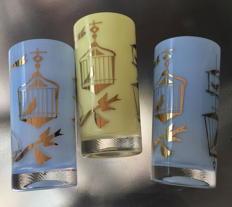 3 Helen Conroy Birds Highball Glasses Tumblers Blue Yellow - MCM
