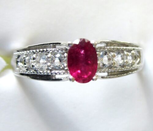 Genuine Ruby & White Topaz Ring, 925 Sterling Silver, size 5  -- 0.88 cts