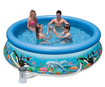 """Intex 10' x 30"""" Easy Set Kids Inflatable Beyond everything Ground Swimming Pool with Pump"""