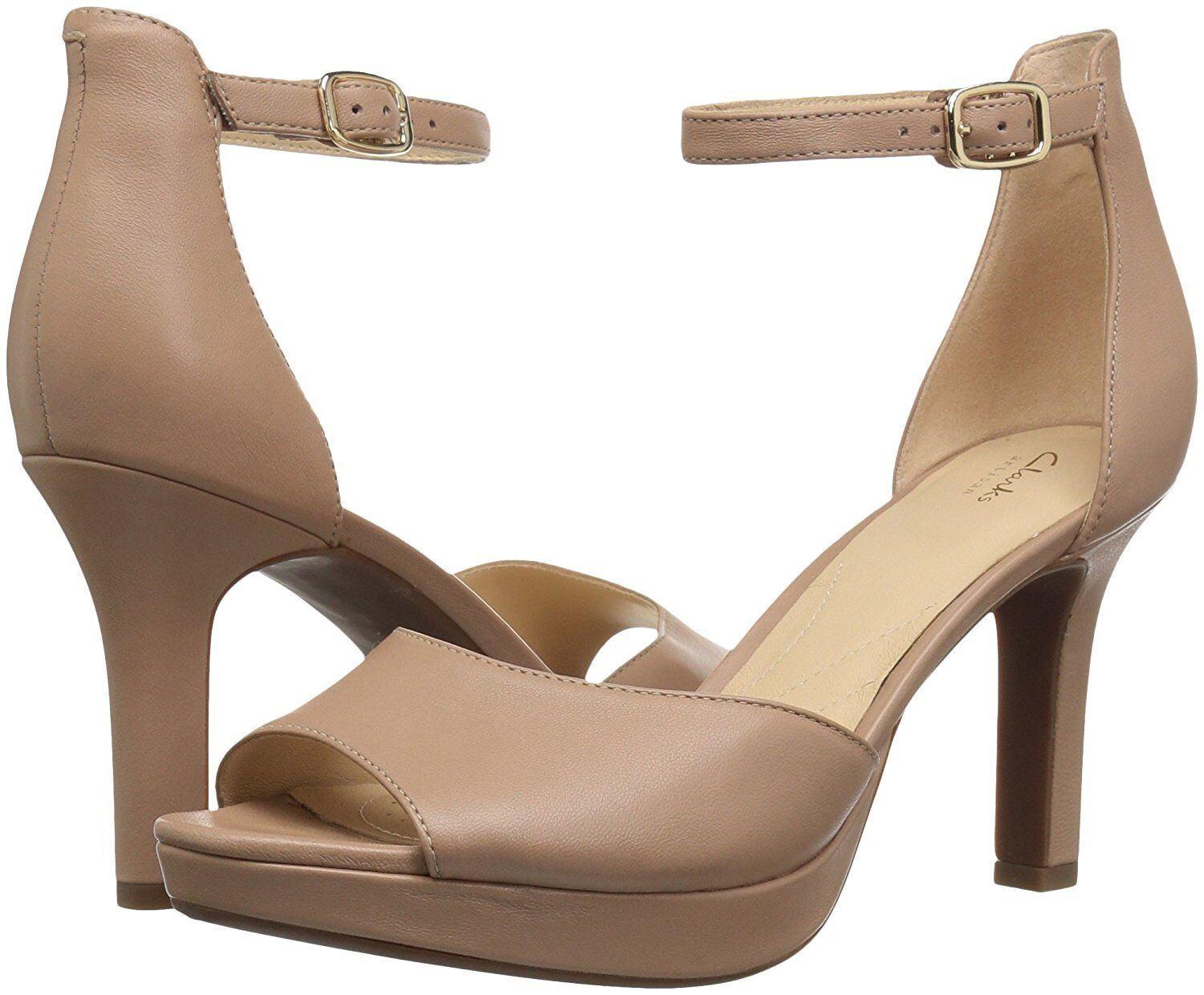 Women's Shoes Clarks Mayra Dove Peep Toe Ankle Strap Heel 33358 Beige *New*