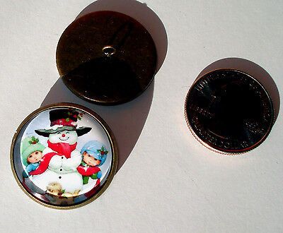 Christmas Snowman with Children glass dome 1