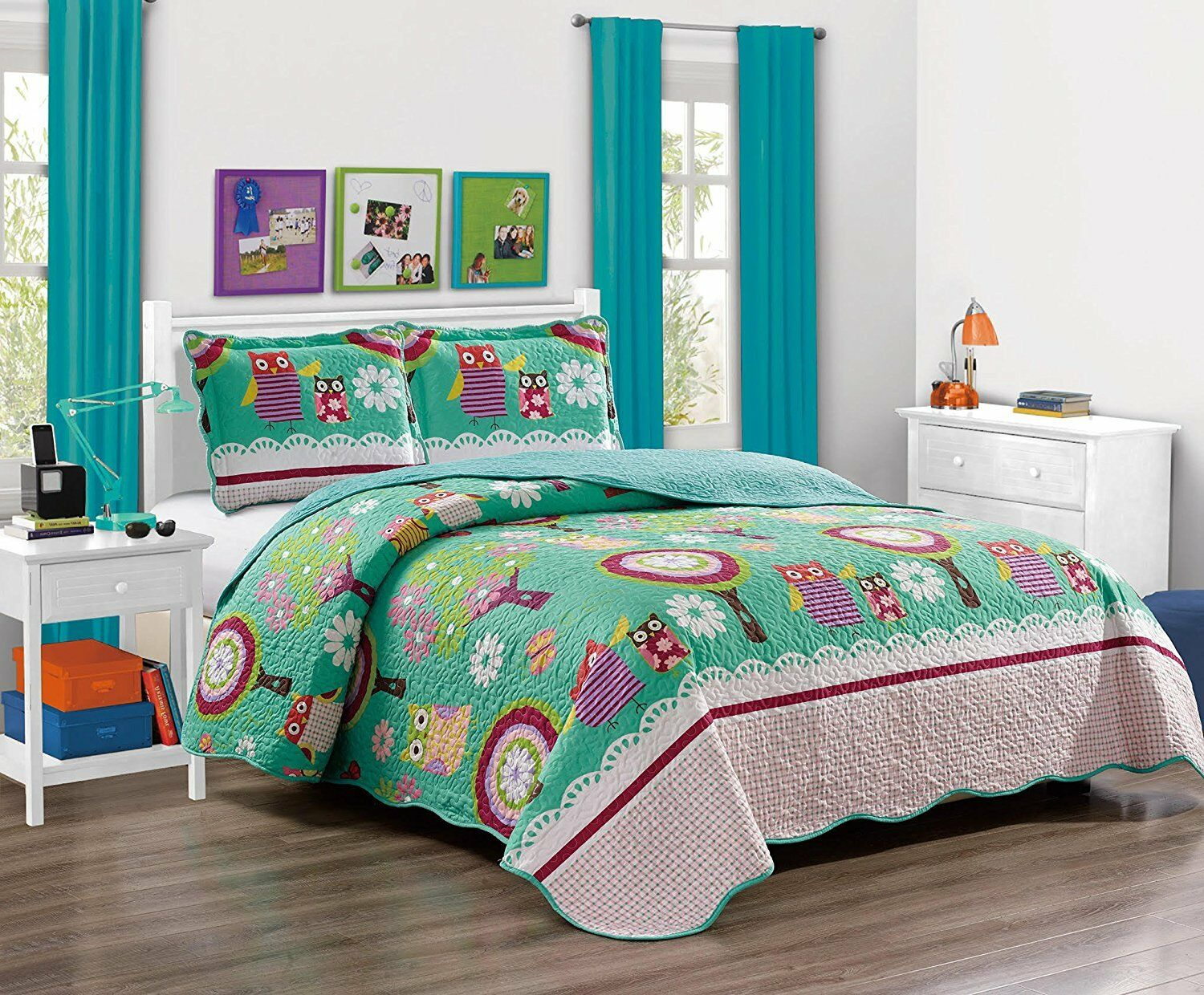Fancy Linen 7pc Full Size Bedspread Set With Sheets Owl Teal