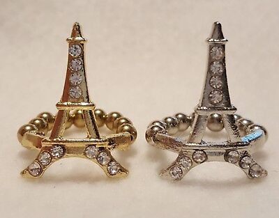 1 SINGLE Eiffel Tower Stretch Band Ring Faux CHOICE OF GOLD OR SILVER