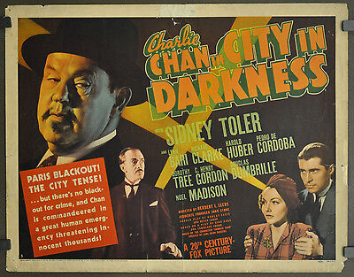 "CHARLIE CHAN IN CITY IN DARKNESS 1939 ORIG 22X28 ""B"" MOVIE POSTER SIDNEY TOLER"
