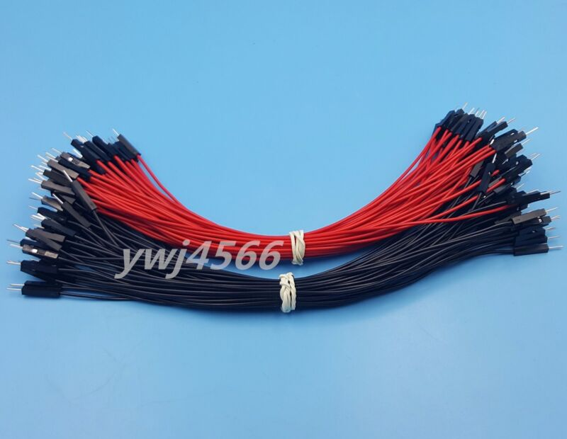 1000Pcs 2.54mm 1P-1P Male to Male Dupont Wire 20cm Jumper Red & Black