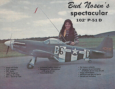 Giant Bud Nosen 1/4 Scale P-51D Mustang Plans, Templates and Instructions