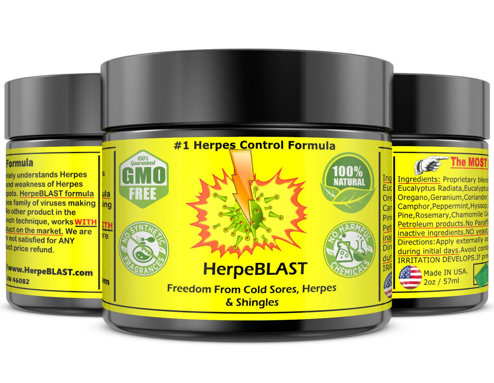 Herpes Treatment Cream Lips Genital Blister Cold Sore Shingles HerpeBLAST 3