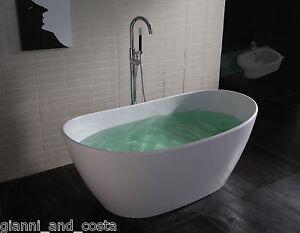 Free Standing Bath TUB Stone Solid Surface 1630x850x640mm Freestanding EBay