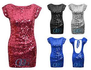 Sequin Bodycon Dress on Sleeveless Open Tie Back Sequin Bodycon Mini Party Dress 8 To 14