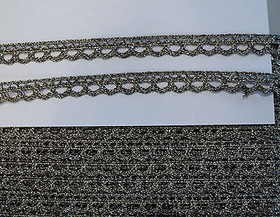 """5/16"""" OLDE SILVER METALLIC WOVEN LOOP BORDER LACE - JAPAN  -LOOKS ANTIQUE for sale  Shipping to India"""
