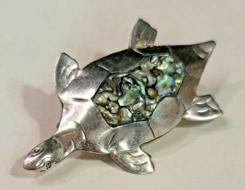 Taxco Pin - Small Hand Crafted Sterling Silver Turtle Pin W/ Abalone Shell (508)