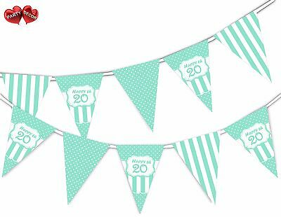 Happy 20th Mint Happy Birthday Anniversary Themed Bunting Banner by PARTY DECOR