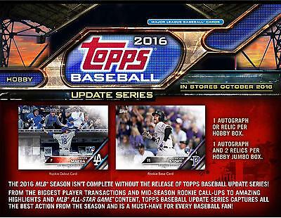 2016 Topps Baseball Update Hobby Edition Factory Sealed 36 Pack Box