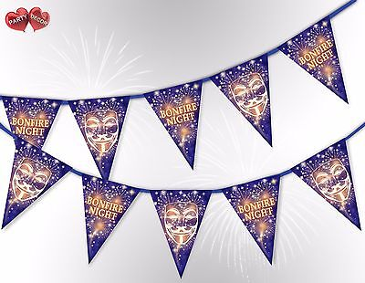 Bonfire Night the Guy Fawkes Mask mix 5th of Nov Bunting Banner by PARTY DECOR - The Guy Fawkes Mask
