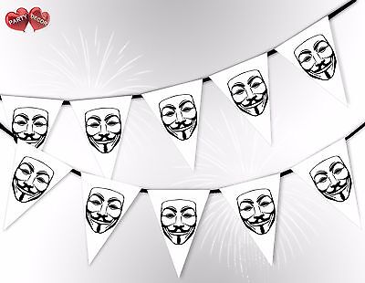 Bonfire Night Guy Fawkes Mask White 5th November Bunting Banner by PARTY DECOR](Bonfire Night Decorations)