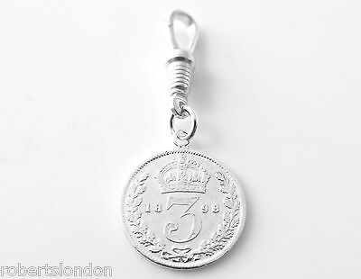 Sterling Silver 1898 Three Pence Coin Pocket watch or Albert Chain Fob Charm -
