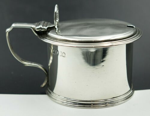 Early 19th Century Birmingham Sterling Silver Mustard Pot Drum Shaped Blue Glass
