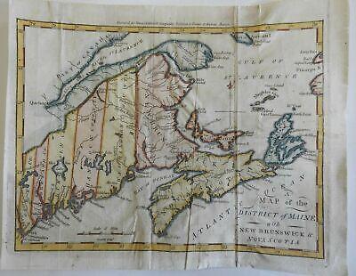 Maine w/ New Brunswick & Nova Scotia 1796 Thomas & Andrews scarce American map