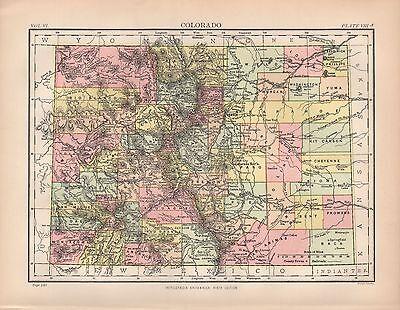 1880 ca ANTIQUE STATE MAP-USA-COLORADO