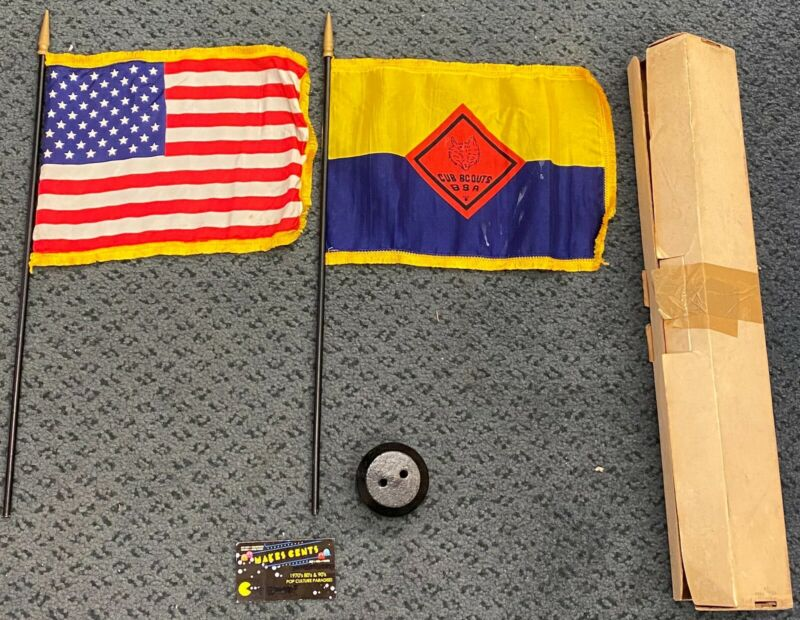 "1975 Cub Scouts Flag and American Flag with Stand And Box 11"" - NICE!"