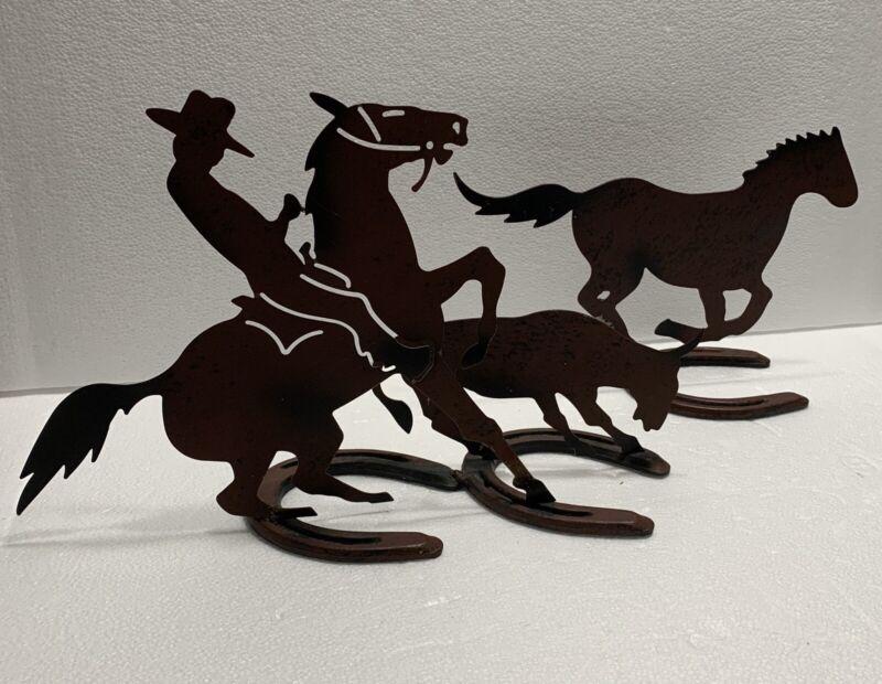 O Pony Diamond Southwest Western Metal Cutout Silhouette Figure Horse Shoe Base