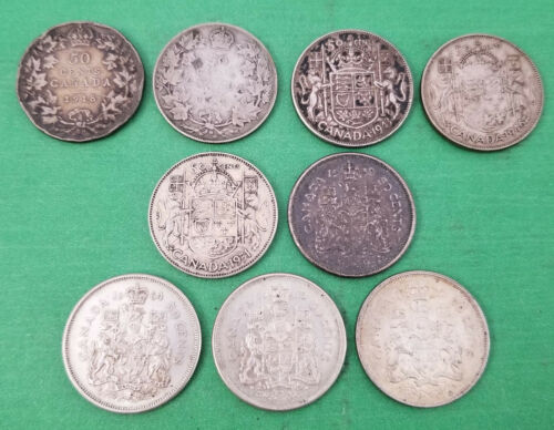 (9) Canada Canadian Silver Half Dollar Coins - Mix of Years and Types
