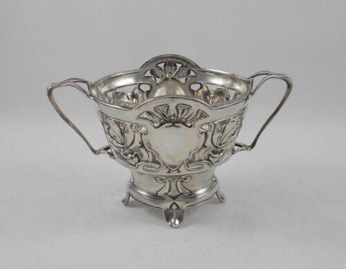 RAR Stylish Sugar Bowl Art Nouveau IN 800er Silver Bruckmann Atelierentwurf