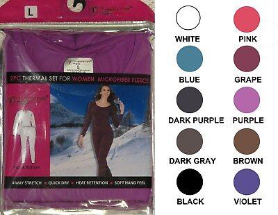 Women's Thermal Microfiber Fleece Pajama 2 Piece Set Comfortable Sizes M-2XL New