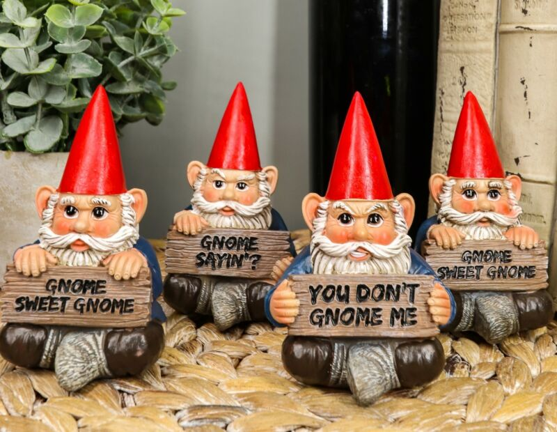 """Ebros Welcome Whimsical Gnome W/ Greeting Signs Statues 4""""H Set 4 Garden Gnome"""