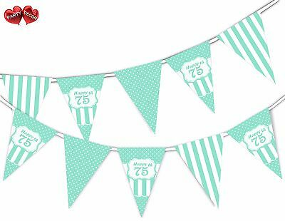 Happy 75th Mint Happy Birthday Anniversary Themed Bunting Banner by PARTY DECOR - Happy 75th Birthday Banner