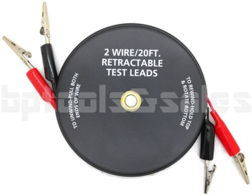 2 WIRE/20-FT. RETRACTABLE TEST LEADS 18 GAUGE ALLIGATOR CLIPS IN REEL