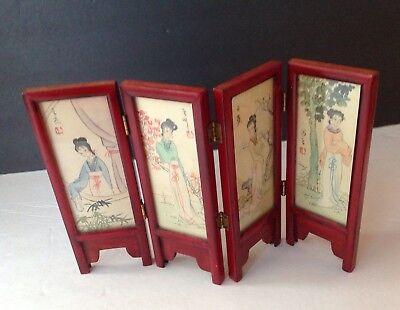 Mini Folding Screen Vintage (4)GEISHA &(4)LANDSCAPE Panes on Silk Glass Encased - Silk Glass