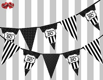 Chic Black Happy 50th Birthday Vintage Polka Dots Theme Bunting Banner Party UK (50th Birthday Party Themes)