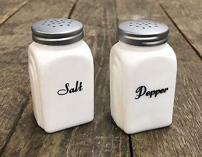 Set of White Art Deco Milk Glass Cursive Salt & Pepper Shakers