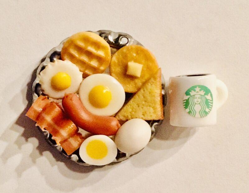 Dollhouse Miniature Food Drink Breakfast Lot 👻🧲 (11) Pc Set On Silver Platter