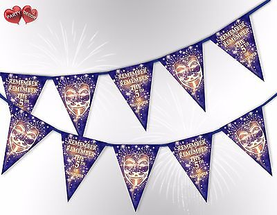 Remember the 5th of November Guy Fawkes Mask mix Bunting Banner by PARTY DECOR - The Guy Fawkes Mask