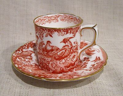 Royal Crown Derby Red Aves Demitasse Cup and Saucer