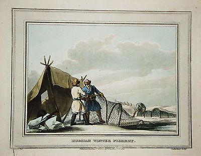 Fischen Winterfischen Russland  altkolorierter Kupferstich in  Aquatinta 1813