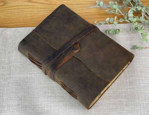Vintage Genuine Leather Journal Deckle Edge Paper Handmade Leather bound Journal
