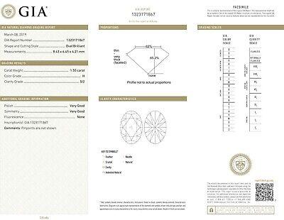 GIA H SI2 2.10 ct Oval Shape & Half Moon Cut Diamond Ring 14k White Gold 1