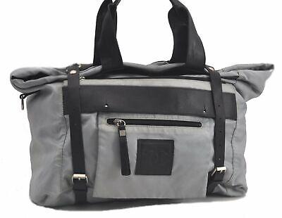 Authentic CHANEL Nylon Leather CC Logo Travel Hand Bag Light Blue Black C0915